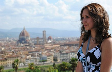 GMercyU alum Ashley Scheiber in Italy
